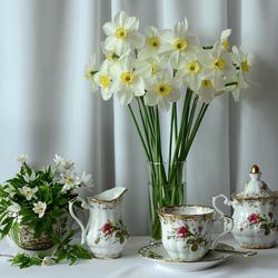 Пазл онлайн: Чай с цветами