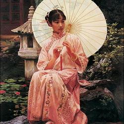 Пазл онлайн: Девушка с зонтиком