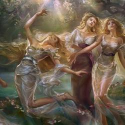Пазл онлайн: Танцующие у воды