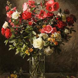 Пазл онлайн: Розы и мальвы