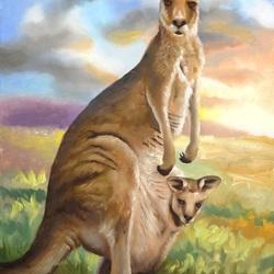 Пазл онлайн: Мама с кенгурёнком