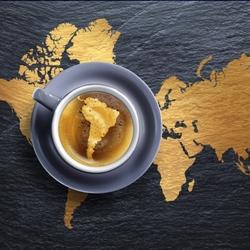Пазл онлайн: Континенты и чашечка кофе