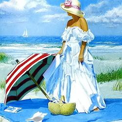 Пазл онлайн: Дама с зонтиком