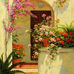 Пазл онлайн: Колодец в цветах