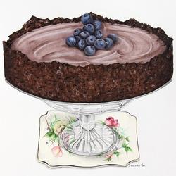 Пазл онлайн: Пирог с черникой