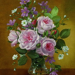 Пазл онлайн: Розы в вазе