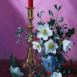 Пазл онлайн: Натюрморт со свечой и жасмином