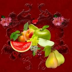 Пазл онлайн: Фрукты и цветы