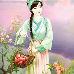 Пазл онлайн: Спелые персики