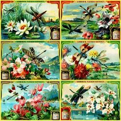 Пазл онлайн: Цветы и стрекозы