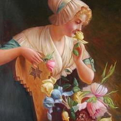 Пазл онлайн: Девушка с розой