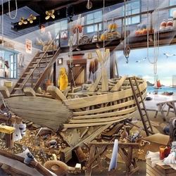 Пазл онлайн: Строим лодку