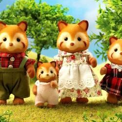 Пазл онлайн: Семейка красной панды