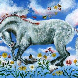 Пазл онлайн: Конь в небесах