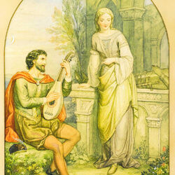 Пазл онлайн: Трубадур и его дама