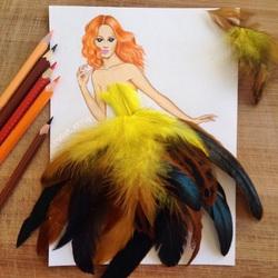 Пазл онлайн: В желтых перьях