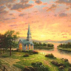 Пазл онлайн: Церковь на закате
