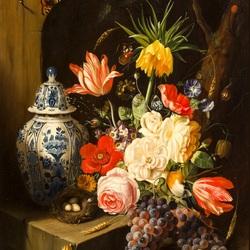 Пазл онлайн: Букет цветов и китайская ваза