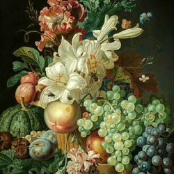 Пазл онлайн: Цветы и фрукты
