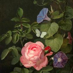 Пазл онлайн: Роза и бабочка