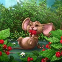 Пазл онлайн: Мышка в малине