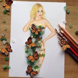 Пазл онлайн: Платье с морским стеклом и бабочки