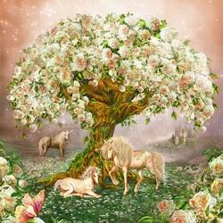 Пазл онлайн: Единороги под деревом роз
