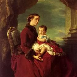 Пазл онлайн: Императрица Евгения с принцем Луи Наполеоном