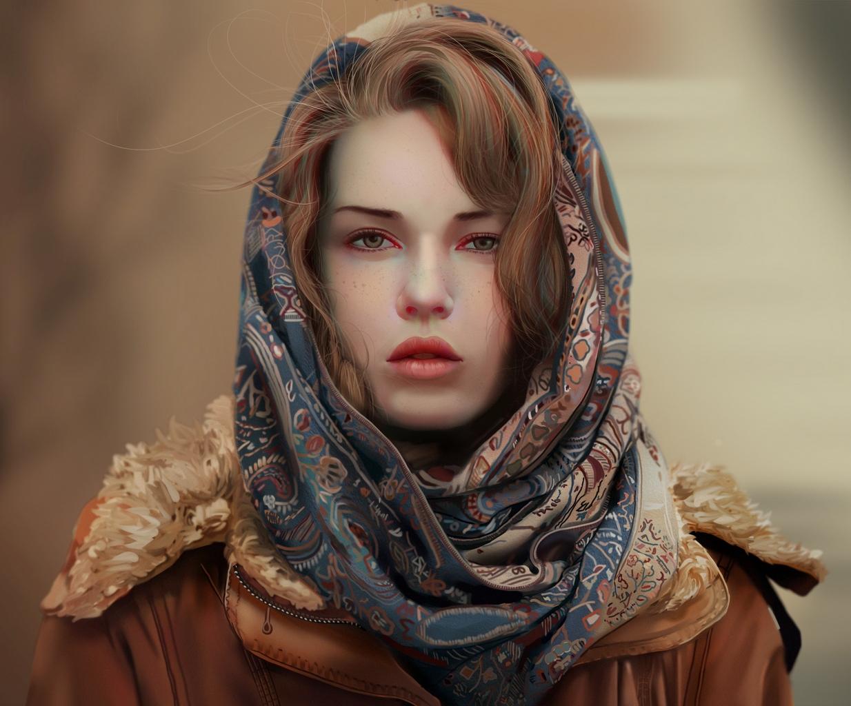 девушка в платке в пустыне
