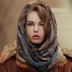 Пазл онлайн: Девушка в платке