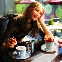 Пазл онлайн: За чашечкой кофе