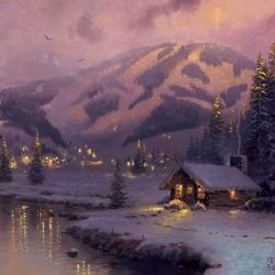 Пазл онлайн: Вечер горы Олимп