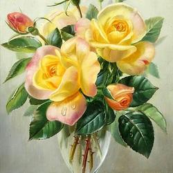 Пазл онлайн: Желтые розы в вазе