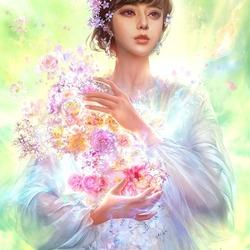 Пазл онлайн: Цветы в руках