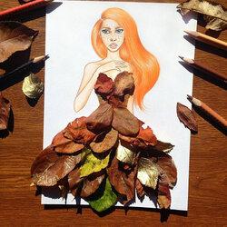 Пазл онлайн: Платье из листьев