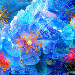 Пазл онлайн: Голубые маки