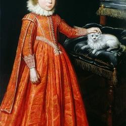 Пазл онлайн: Девочка с собачкой