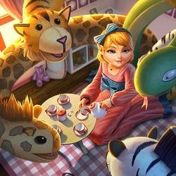 Пазл онлайн: Сцилла играет в ребенка