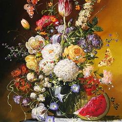Пазл онлайн: Натюрморт с цветами и арбузом