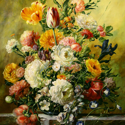 Пазл онлайн: Букет с тюльпанами