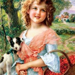 Пазл онлайн: Девочка с черешней