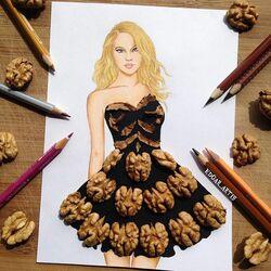 Пазл онлайн: Платье с грецкими орехами