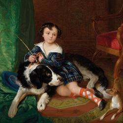 Пазл онлайн: Портрет Франциска Ауэрсперга с собакой