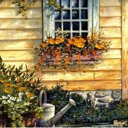 Пазл онлайн: Окно в цветах