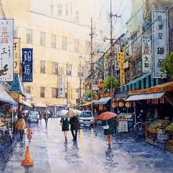 Пазл онлайн: Дождь в Токио