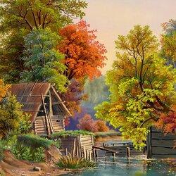 Пазл онлайн: Осенний этюд с плотиной