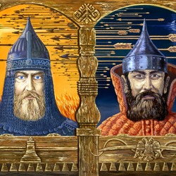 Пазл онлайн: Господин Великий Новгород и Москва Ордынская