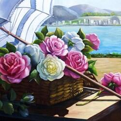 Пазл онлайн: Розы и зонтик