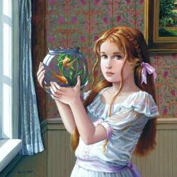 Пазл онлайн: Девочка с аквариумом