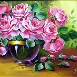 Пазл онлайн: Розы в стеклянной чаше